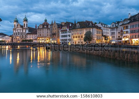 Switzerland, Lucerne, Reuss river (in the evening after the rain).
