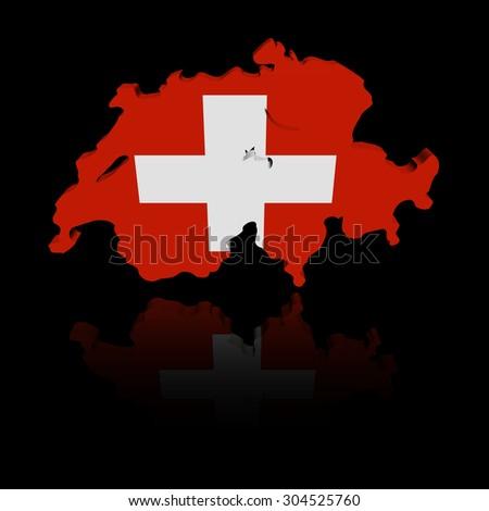 Switzerland map flag with reflection illustration - stock photo