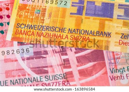 Switzerland money swiss franc banknote close-up - stock photo