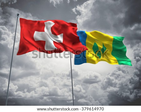 Switzerland & Saint Vincent and the Grenadines Flags are waving in the sky with dark clouds
