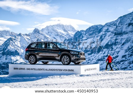"Switzerland, Ski resort ""Jungfrau"" February 21, 2016: Presentation of the BMW X1 is the new model of the car's drive version in the Swiss Alps Jungfrau."