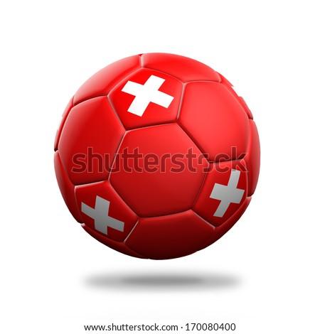 Switzerland soccer ball isolated white background - stock photo