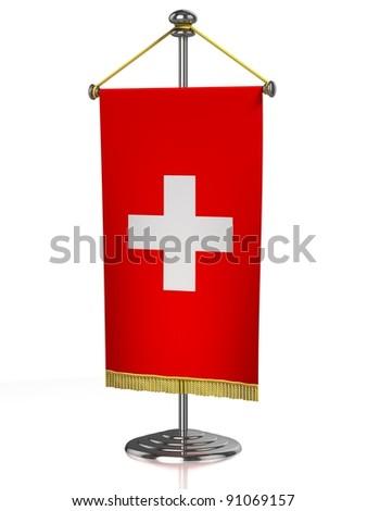 Switzerland table flag isolated on white - stock photo