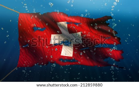 Switzerland Under Water Sea Flag National Torn Bubble 3D - stock photo
