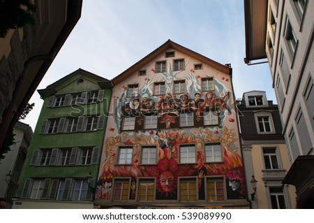 Switzerland, 08/12/2016: view of the palaces and buildings in the streets and alleys of the medieval city of Lucerne