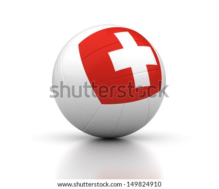 Switzerland Volleyball Team (isolated with clipping path)