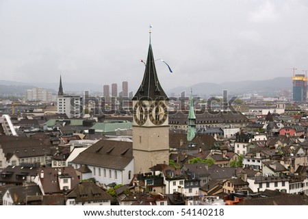 Switzerland, Zurich, view of the city on a foggy spring weather - stock photo