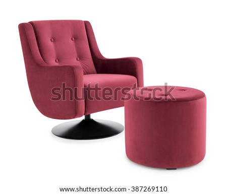 Swivel Armchair with Footstool - stock photo