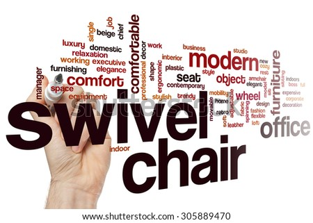 Swivel chair word cloud concept with furniture comfort related tags - stock photo