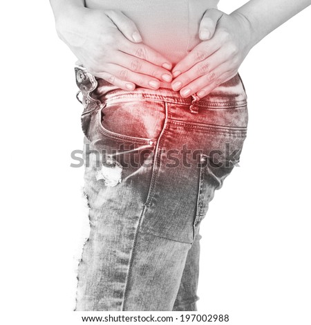 Swollen hurting hip. Medical concept photo.