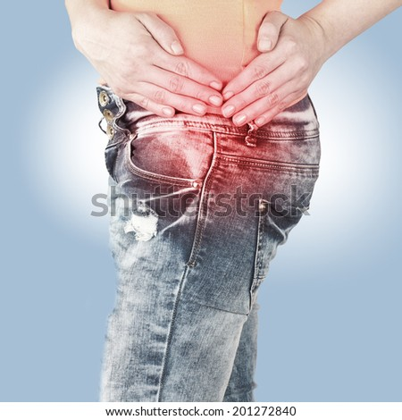 Swollen hurting hip. Medical concept photo.  - stock photo