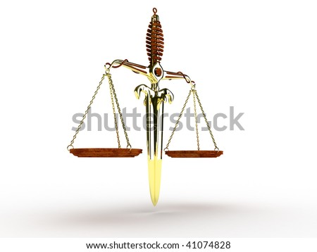 Sword balance scale over white background 3d illustration