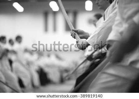 Sword fighting - stock photo