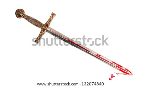 Sword with blood isolated on white background - stock photo