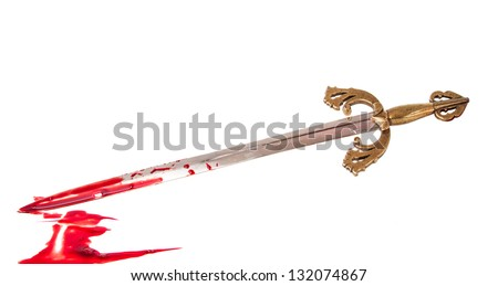 Sword with blood isolated on white background