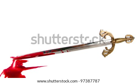 sword with blood on white background