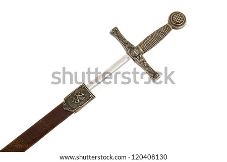 sword with case isolated on white background - stock photo