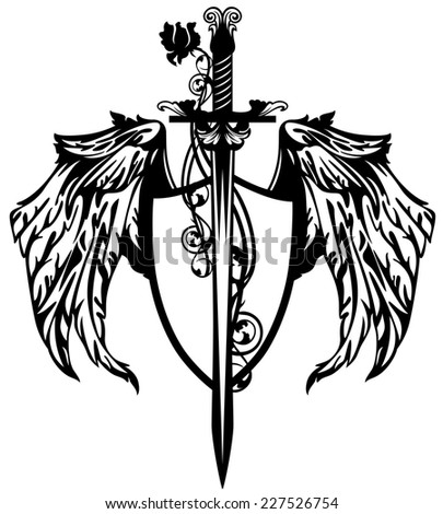 sword with rose flower and winged shield design - black and white emblem - stock photo