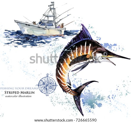 swordfish. watercolor Marlin illustration. Atlantic fishing