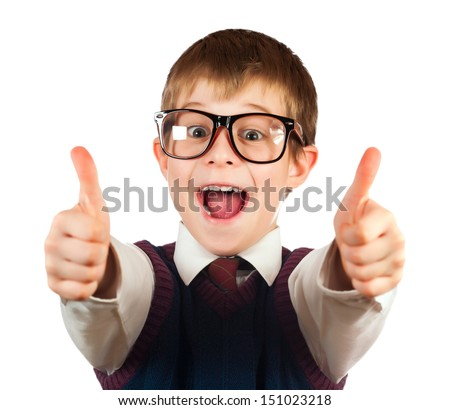 swot boy with glasses on a white background - stock photo
