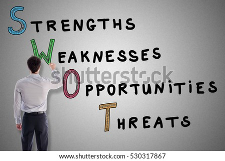 Swot concept drawn by an young businessman