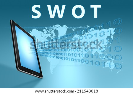 SWOT - Strengths, weaknesses, opportunities, and threats illustration with tablet computer on blue background - stock photo