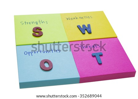 SWOT, words on sticky note : white background. selection focus  - stock photo