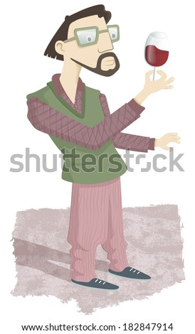 Sybarite man. A young bearded man standing looking at a glass of wine. It is a demanding gourmet enjoying excellent wine. - stock photo