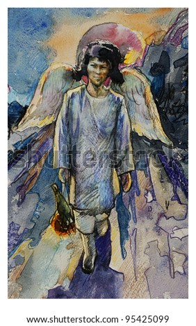 Sybirian angel with a wings watercolor