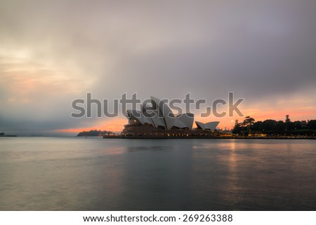 SYDNEY - April 10: The Sydney Opera House, viewed from Circular Quay in Sydney, Australia on April 10, 2015. It was designed by Danish architect Jorn Utzon. - stock photo