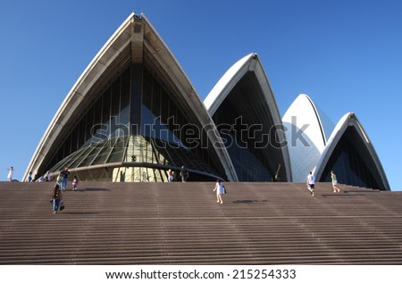 SYDNEY - AUG 10: The Sydney Opera House in Sydney, Australia on August 10, 2008. It was designed by Danish architect Jorn Utzon.