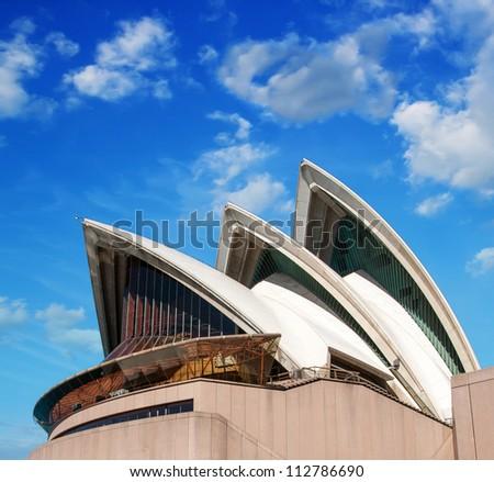 SYDNEY - AUGUST 14: Sydney Opera House view on August 14, 2010 in Sydney, Australia. The Landmark is a famous arts center. It was designed by Danish architect Jorn Utzon, finally opening in 1973. - stock photo