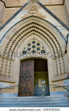 SYDNEY - AUGUST 5: The St.Mary's Cathedral in Sydney, Australia on August 5, 2013. The architecture of Cathedral is typical of the Gothic Revival of the 19th century.