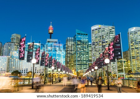 Sydney, Australia - April 16, 2014: Darling Harbour is a harbour adjacent to the city centre of Sydney, New South Wales, Australia  - stock photo