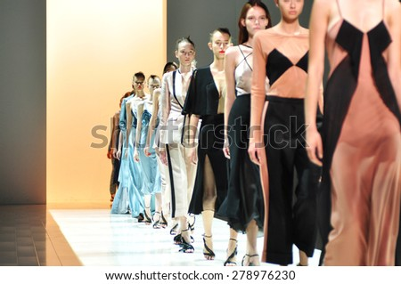 SYDNEY AUSTRALIA - 15 APRIL 2015: Final runway at Bianca Spender female clothes collection fashion show runway at Mercedes Benz Fashion Week in Carriageworks Sydney Australia.   - stock photo