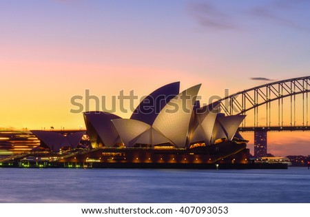 SYDNEY AUSTRALIA - April 18, 2016 : Sunset at Sydney Opera House, Sydney, Australia, Over 10 millions tourists visit Sydney every year