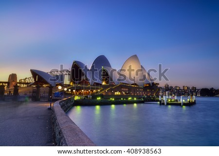 SYDNEY AUSTRALIA - April 21, 2016 : Sunset at Sydney Opera House, Sydney, Australia, Over 10 millions tourists visit Sydney every year