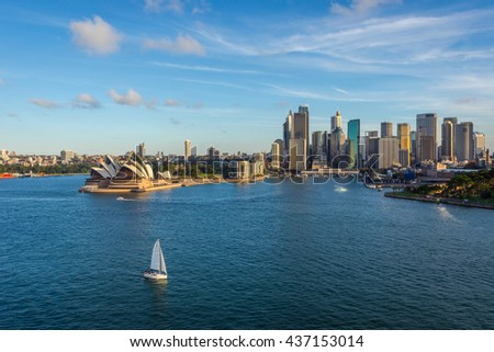 SYDNEY, AUSTRALIA - APRIL 20: Sydney downtown with opera house and circular quay district. April 2016