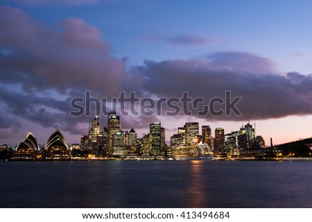 Sydney, Australia - April 12,2016: The Cityscape of Sydney. Sydney is the state capital of New South Wales and the most populous city in Australia.