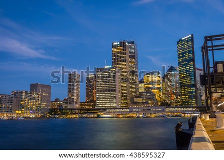 SYDNEY, AUSTRALIA - APRIL 20: View on Sydney downtown at Circular quay with ferry terminal at night. April 2016