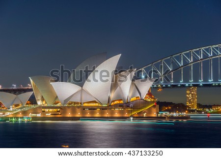 SYDNEY, AUSTRALIA - APRIL 20: View on Sydney opera and Harbour bridge at night, long exposure. April 2016