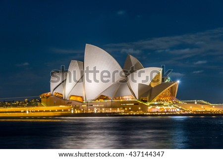 SYDNEY, AUSTRALIA - APRIL 19: View on Sydney Opera house at night, long exposure. April 2016