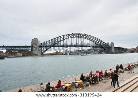 SYDNEY, AUSTRALIA - Aug. 5, 2015: Sydney Harbor bridge viewed from Sydney opera house. - stock photo