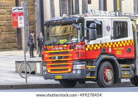 SYDNEY, AUSTRALIA -  AUGUST 26, 2016 - Fire Engine truck park in stanby mode.