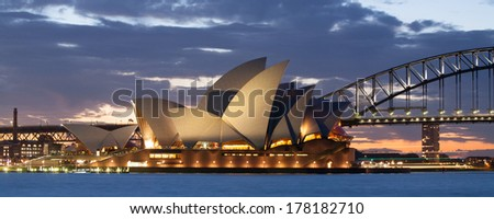 Sydney, Australia - August 19 - Sydney Harbour at dusk on a winter's evening August 19th 2012. - stock photo