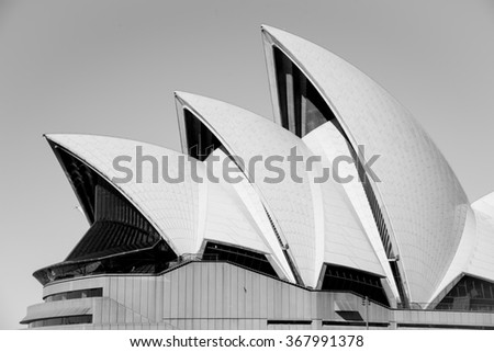 Sydney, Australia - AUGUST 13, 2015: The Sydney Operahouse and its Architecture in Black and White  - stock photo