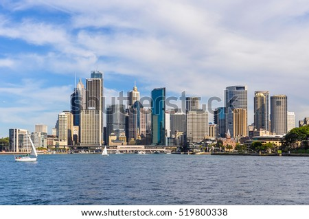 SYDNEY, AUSTRALIA - AUGUST 28, 2012: View of the Central Business District from Kirribilli in Sydney, Australia