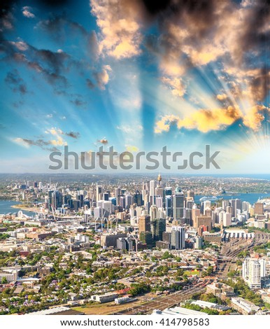 Sydney, Australia. Awesome aerial view from helicopter on a beautiful day.