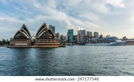 SYDNEY, AUSTRALIA Ca March 2014: the opera house and sydney's CBD seen from the ferry