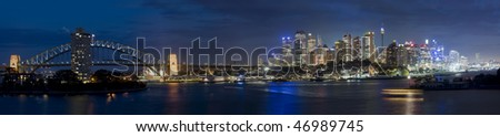 Sydney australia city central part panorama night scene illuminated cityscape famous landmark - stock photo